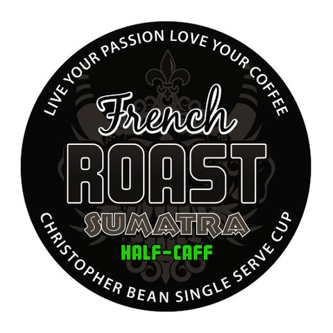 French Roast Sumatra Decaf Half Caff Single Cup (New 18 Count)