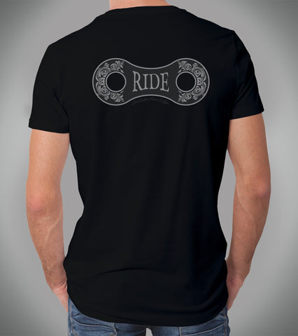 Mens Chain Link Ride Black Logo T Shirt Back Print