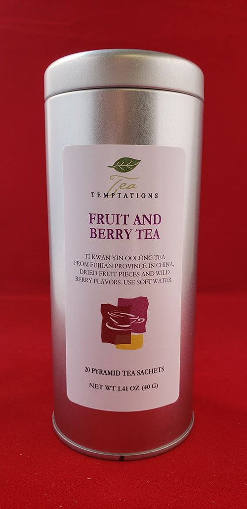Fruit & Berry Oolong 20 Pyramid Tea Sachets In Metal Tin
