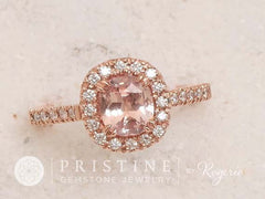 peach sapphire engagement rings, pink sapphire engagement rings, pink champagne sapphire engagement rings, Cushion Pink Peach Sapphire Diamond Halo Rose Gold Engagement