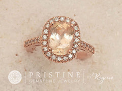 peach sapphire engagement rings, Cushion Peach Sapphire Rose Gold Engagement Ring
