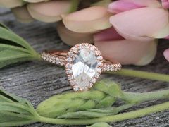 Pear White Sapphire Rose Gold Engagement Ring