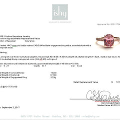 Pink Peach Sapphire 1.82cts Rose Gold Diamond Accented Engagement Ring