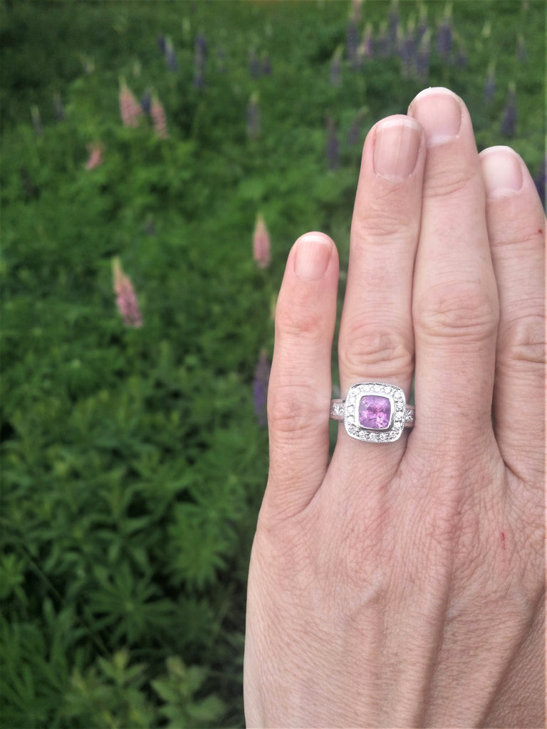 Vintage Inspired One of a Kind Cushion Pink Sapphire Diamond Halo Ring