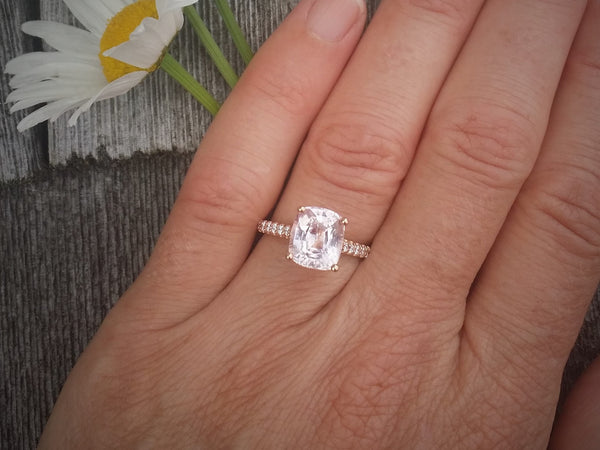 3.51ct Not Heated Cushion Whisper Pink Sapphire Rose Gold Engagement Ring