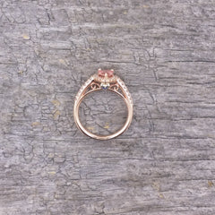 RESERVED Final Payment on Pear Shape Pink Peach Sapphire 14k Rose Gold Diamond Halo Ring