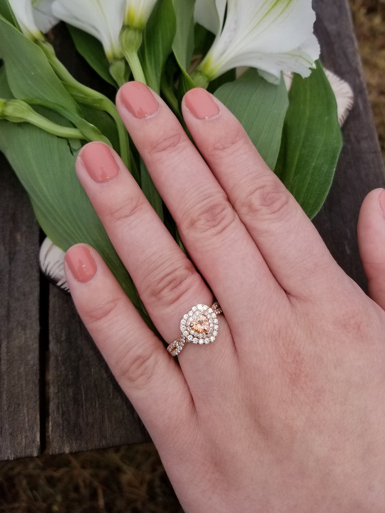 Heart Shape Padparadscha Color Sapphire Rose Gold Infinity Engagement