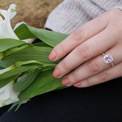 Cushion Pink Sapphire Engagement Ring