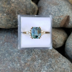 RESERVED Final Payment on Teal Sapphire Seven Stone Diamond Ring
