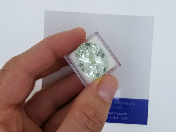 Green Aquamarine Checkerboard Oval Shape 24.90cts