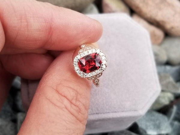 Red Spinel Vintage Inspired Ring in 14k Rose Gold