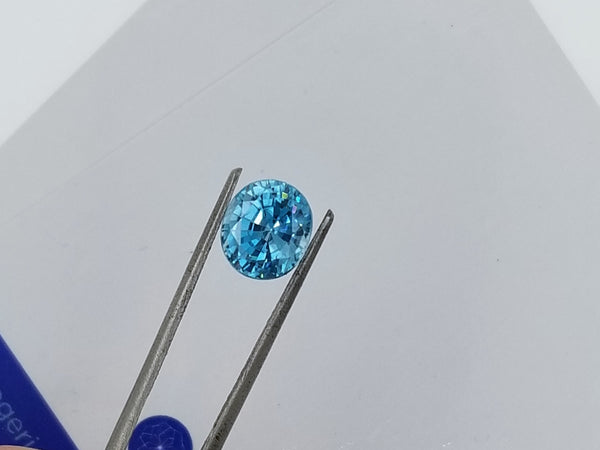 Blue Zircon 4.02cts Oval