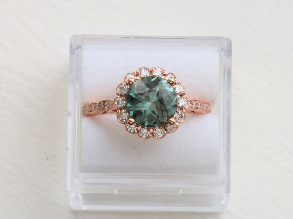 Final Payment Custom 2.44ct 8mm Round Blue Green Sapphire Ring