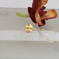RESERVED Final Payment on Sunset Peach Sapphire 14k Yellow Gold Bridal Set