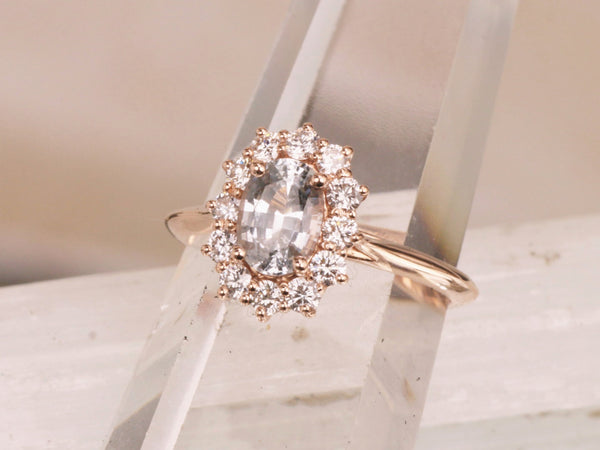 White Sapphire Rose Gold Engagement Ring with 1ct Oval White Sapphire