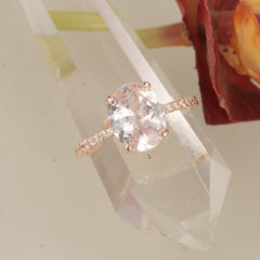 RESERVED Final Payment on 3.60ct Pink Peach Sapphire Rose Gold Engagement Ring