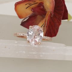 RESERVED 2nd Payment on 3.60ct Pink Peach Sapphire Rose Gold Engagement Ring