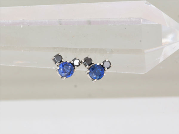 RESERVED Final Payment on Custom Blue Sapphire and Black Diamond Earrings