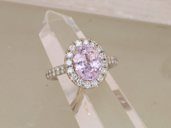 Baby Pink Sapphire 3.16ct 14k White Gold Diamond Halo Ring