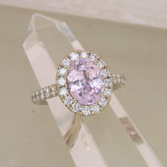 large baby pink sapphire diamond halo ring
