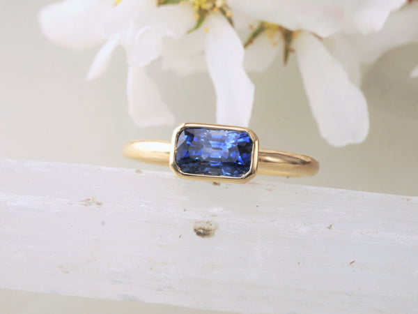 RESERVED Final Payment on Custom Blue Sapphire Bezel Set Ring