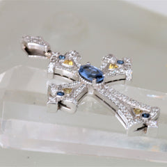 Final Payment on Custom 14k White Gold and Sapphire Cross Pendant