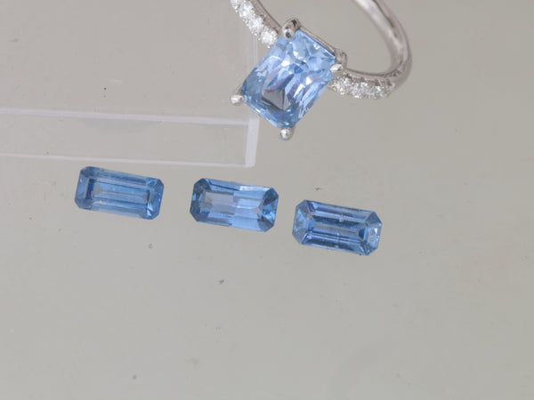 RESERVED Deposit on Custom Order for Emerald Cut Blue Sapphire Jewelry Set