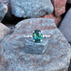 Vintage Inspired 3.44ct Blue Green Sapphire Engagement Ring
