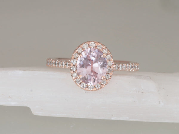 pink peach sapphire engagement ring