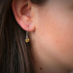 Handmade Yellow Sapphire Dangle Earrings