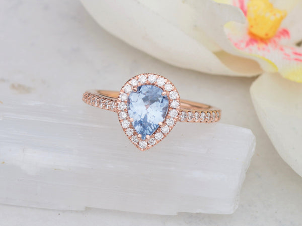 Final Payment on Custom Order for Pastel Blue Sapphire Tear Drop Shape in Rose Gold Diamond Halo Engagement Ring