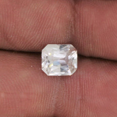 Radiant Cut White Sapphire 8 x 7 MM Precision Cut Gemstone