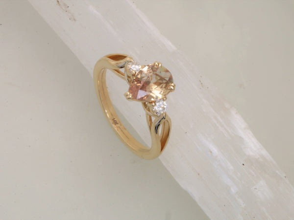 RESERVED Final Payment on Pear Shape 3 Stone Yellow Gold Engagement Ring
