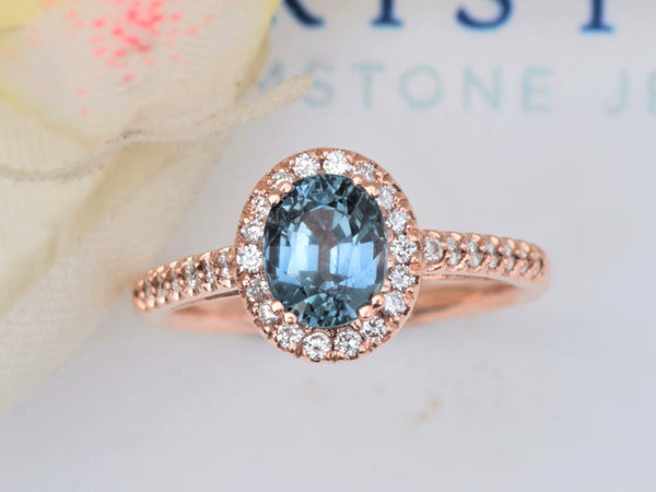 Montana Blue Sapphire 1.58ct Rose Gold Engagement Ring