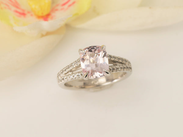 RESERVED Final Payment on Custom Order for Cushion Pink Champagne Sapphire Split Shank Platinum Diamond Accented Ring