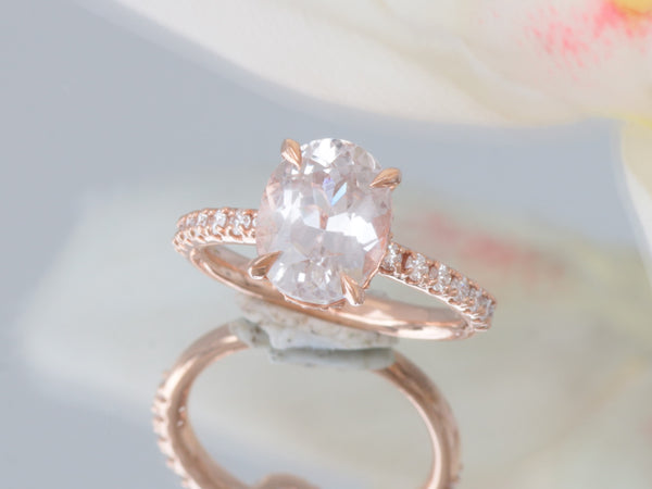 Peach Sapphire Rose Gold Engagement Ring with 3.77ct Natural Sapphire