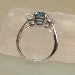 Three Stone Blue Sapphire and Diamond Engagement Ring in Platinum Three Stone Ring Mount