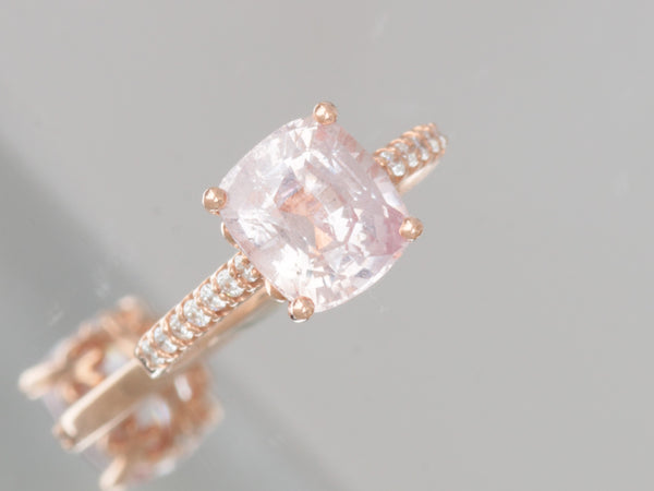 3.51ct Cushion Pink Peach Sapphire Not Heated Rose Gold Engagement Ring