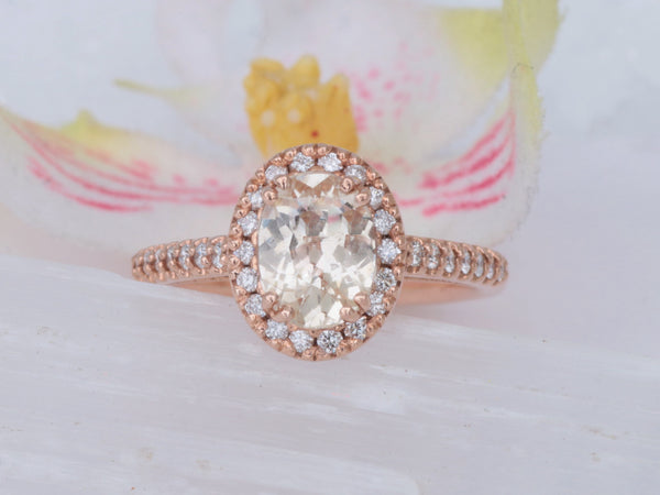 Peach Sapphire Rose Gold Engagement Ring with 1.32ct Peach Sapphire