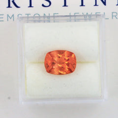 antique cushion orange sapphire