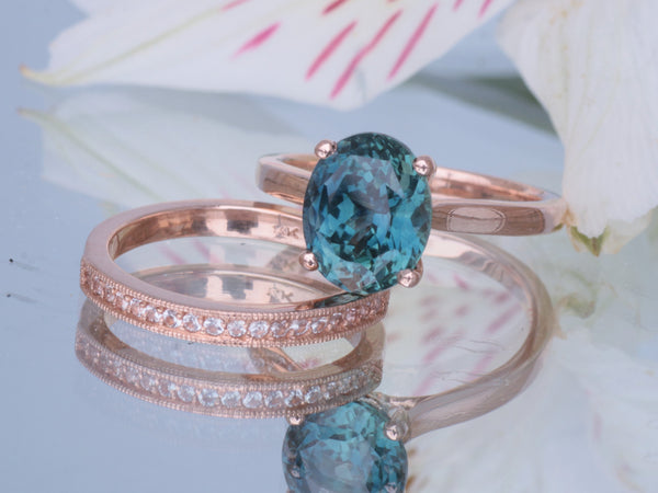 RESERVED Teal Sapphire 4.17ct Oval Rose Gold Bridal Set