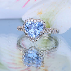 Heart Shaped Diamond Halo 1.75ct Blue Sapphire Engagement Ring