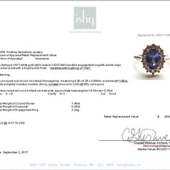 RESERVED for Exchange Blue Sapphire 1.93ct Diamond Cluster Engagement Ring