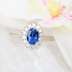Blue Sapphire Diamond Halo Engagement Ring Kate Middleton Style with 1.05ct Blue Sapphire