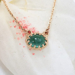 Vintage Emerald Necklace in 14k Yellow Gold May Birthstone