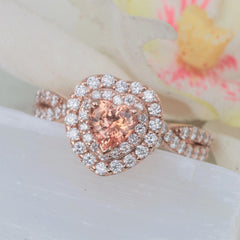 Heart Shape Padparadscha Color Sapphire 14k Rose Gold Infinity Engagement Ring