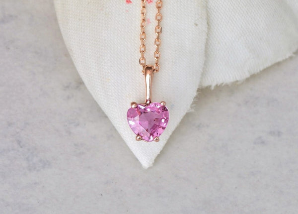 Heart Pink Sapphire Rose Gold Layering Necklace Keepsake Gift for Her