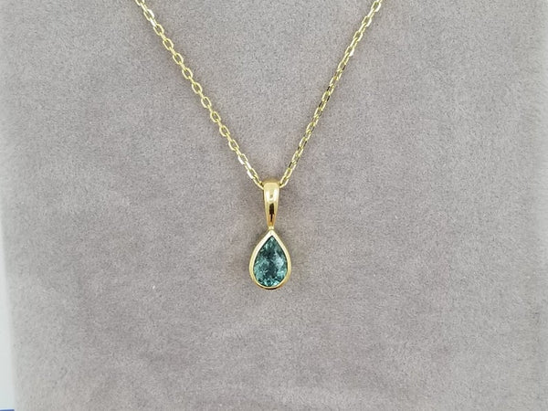 Teardrop Blue Green Tourmaline 14k Gold Dainty Necklace