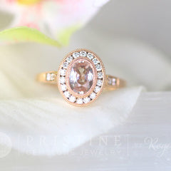 peach sapphire rose gold wedding ring