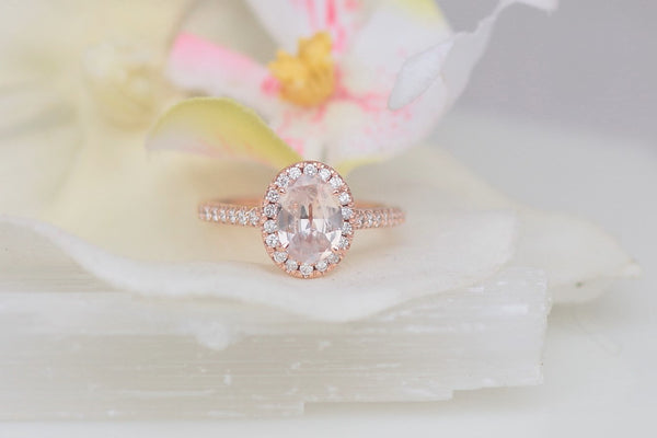 Peach Champagne Sapphire Engagement Ring Rose Gold Engagement Ring Diamond Halo Wedding Ring Bridal Ring